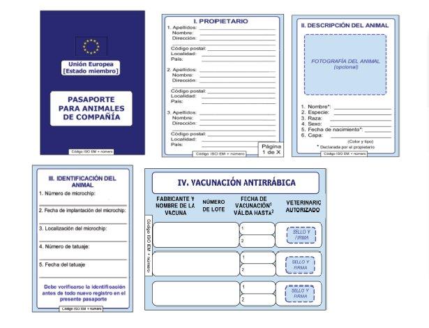 Documento de identificación y sanitario para animales de compañía.